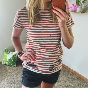 Gilded Intent Slashed Distressed Striped Tee